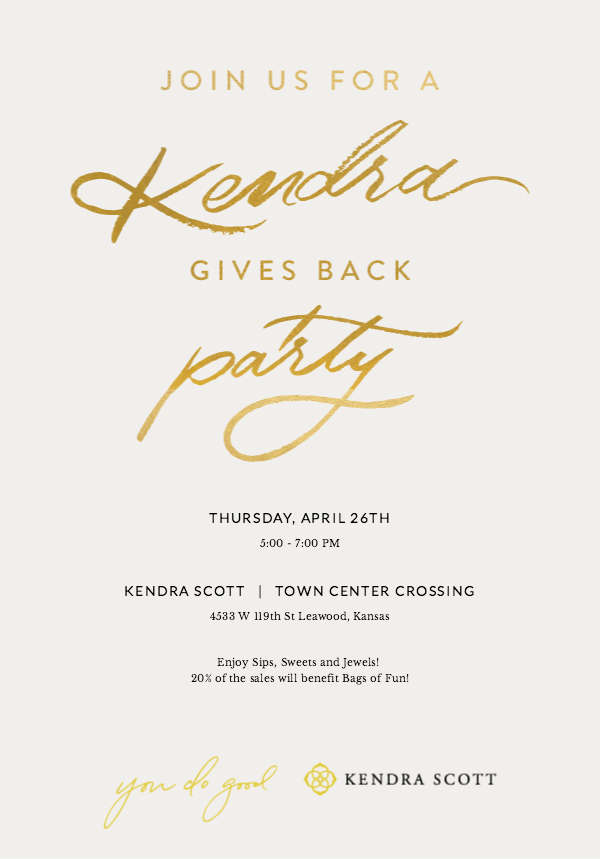 Kendra Gives Back Party Invitation