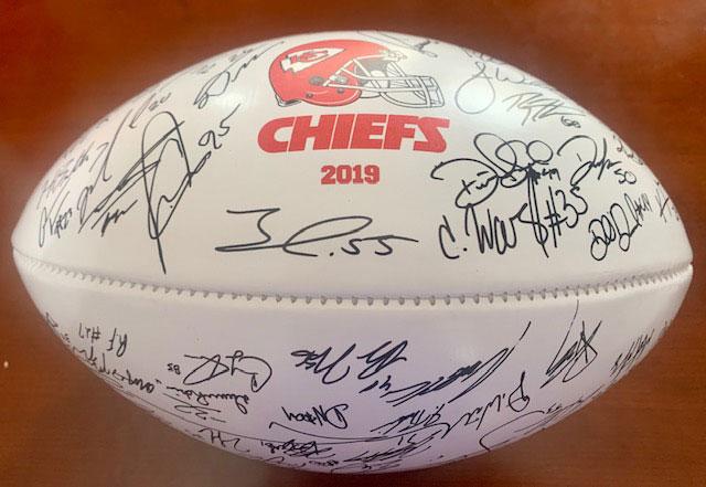 Chiefs Raffle Signed Football Back
