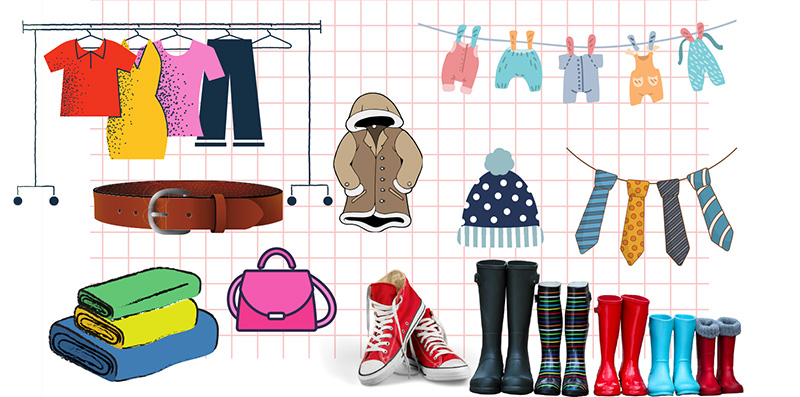 Illustration of Clothing and Items to Donate